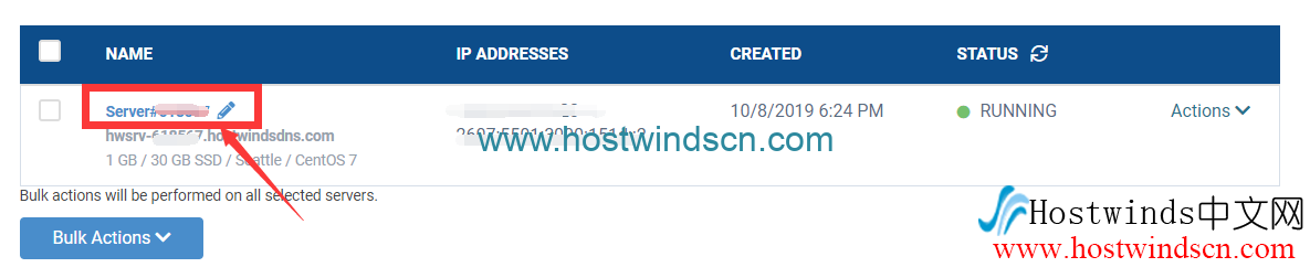 Hostwinds实例详情页